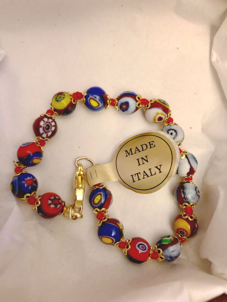 Italian glass bead bracelet