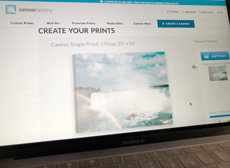 It's easy to create a canvas print from a photo of your choice on Canvas Factory.