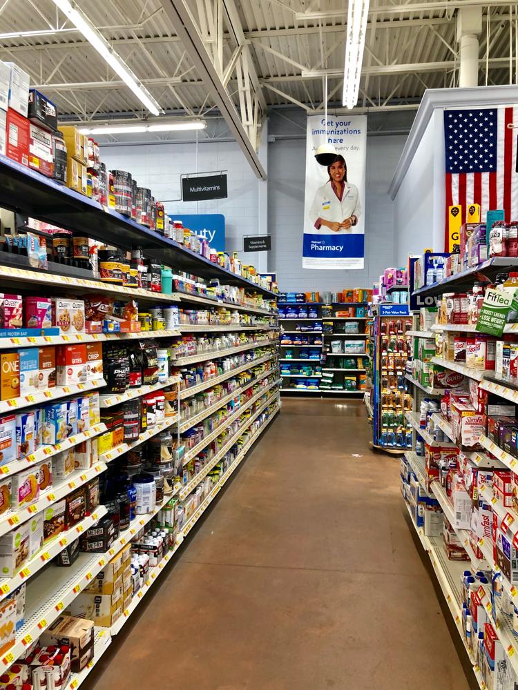 The vitamin aisle at Walmart