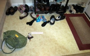 home entryway with shoes