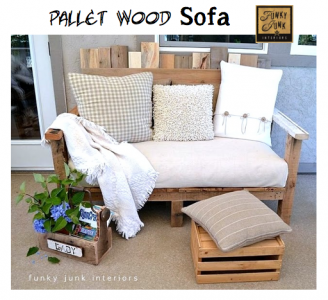 funky junk interiors, pallet, wood, sofa, DIY