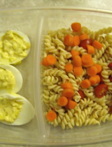 deviled eggs and pasta salad bento lunch