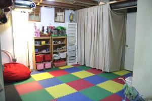 unfnished basement, playroom