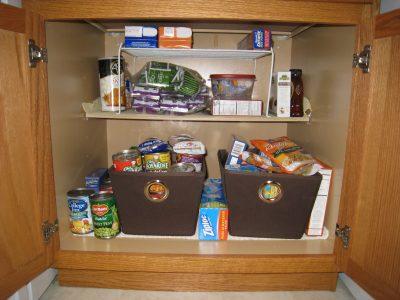 pantry, organize, cloth bins, storage
