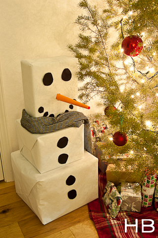 snowman paper box gift tower