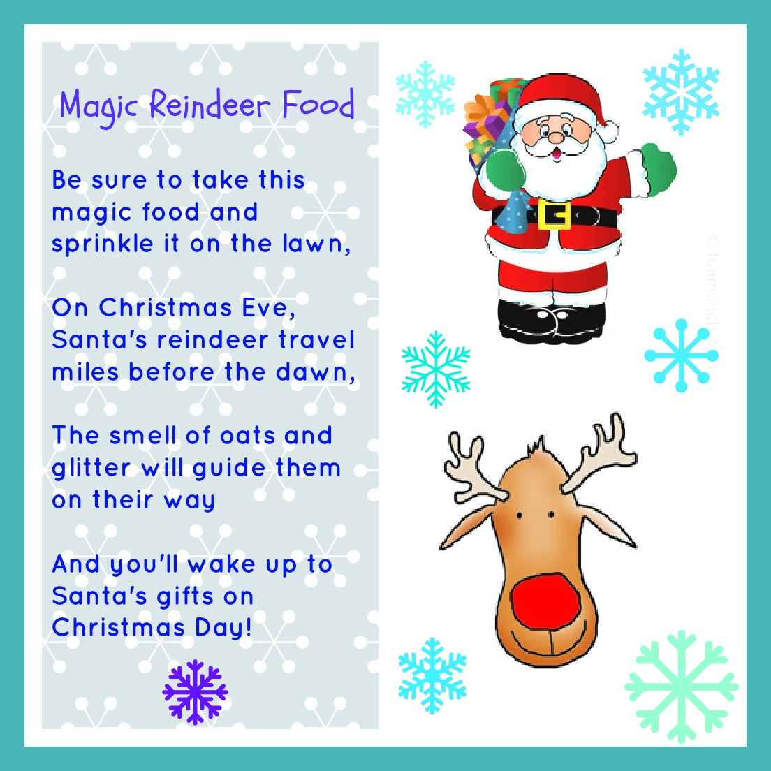 image relating to Reindeer Food Poem Printable named Magic Reindeer Foods Totally free Printable -
