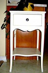 refinished wood cabinet, Krylon, spray paint