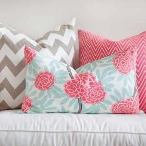pillow, pink, gray, flower, chevron, Caitlin Wilson Textiles