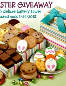 Easter Giveaway Tower, cookies, brownies