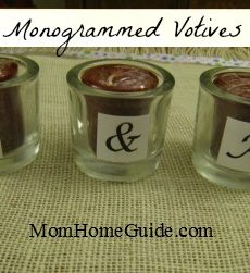 craft, votive, candle, monogram