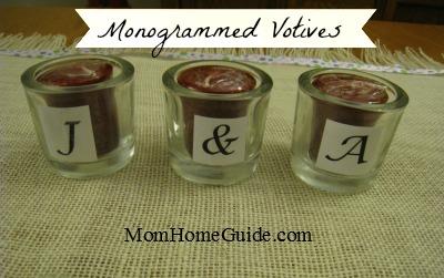 craft, votive, candle, monogram