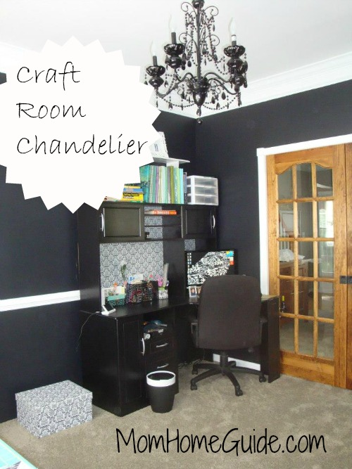 craft room, desk, black chandelier