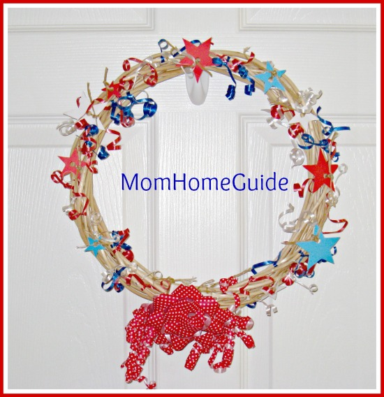 patriotic, wreath, fourth of july, craft, grapevine