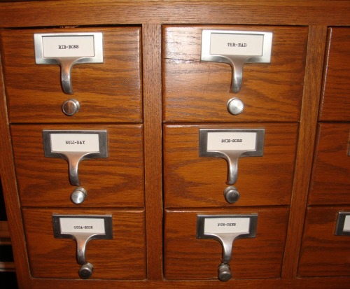 card catalog, labels