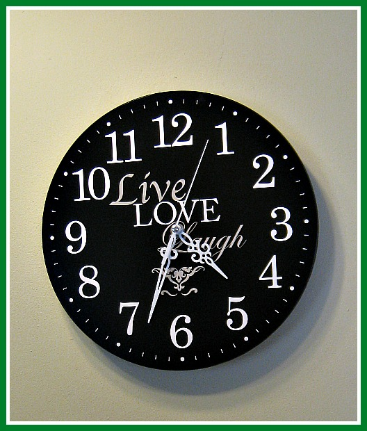 live, laugh, love, bathroom clock