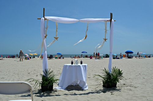 wedding altar, beach, ocean city, starfish
