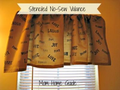 stenciled no sew valence