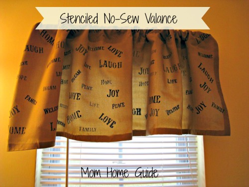 stenciled no sew valence