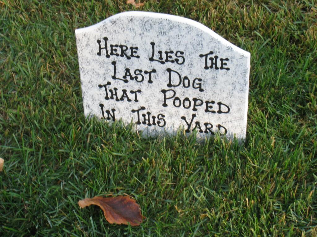 Halloween tombstone, dog