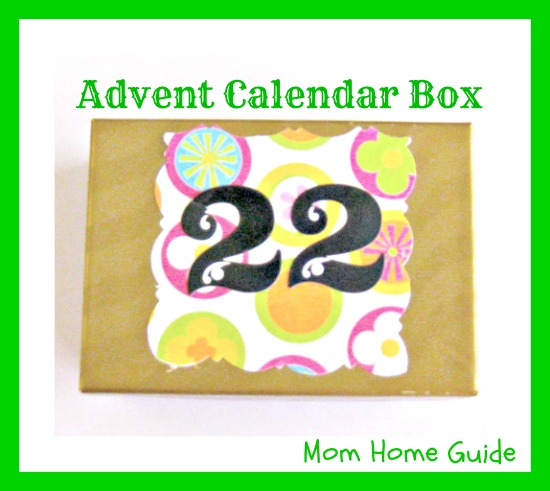 advent calendar box decorated with scrapbook paper for Christmas