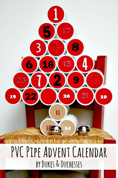 PVC pipe christmas advent calendar