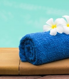 spa, towel, flowers, pool
