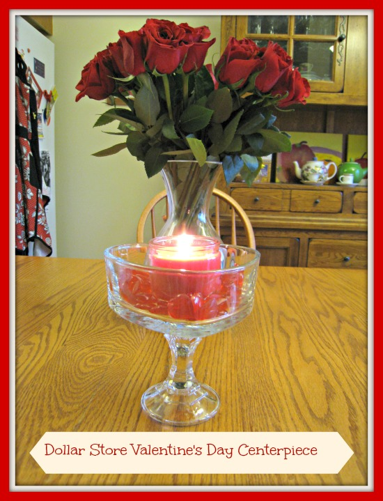dollar store, glass, candle holder, centerpiece, heart