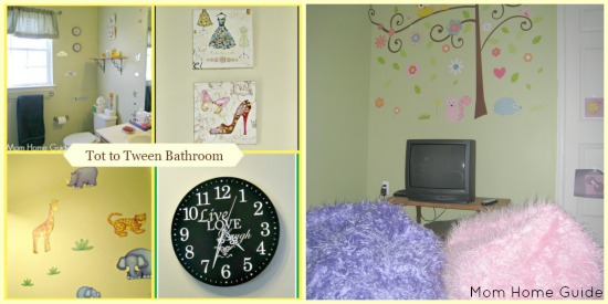 tween bathroom, study, space, media room