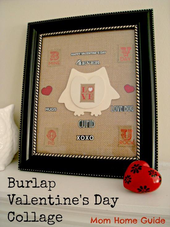 burlap, valentine's day, collage