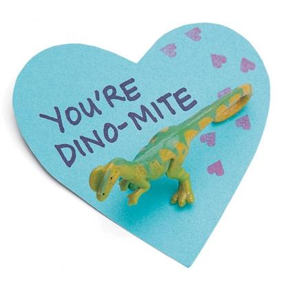 valentine, craft, card, dinosaur