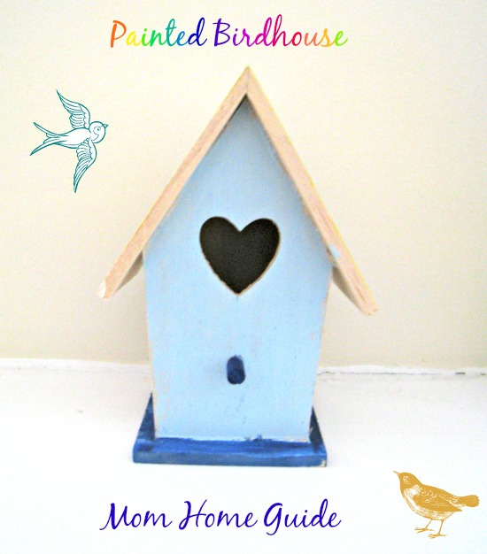 painted, craft, birdhouse, blue