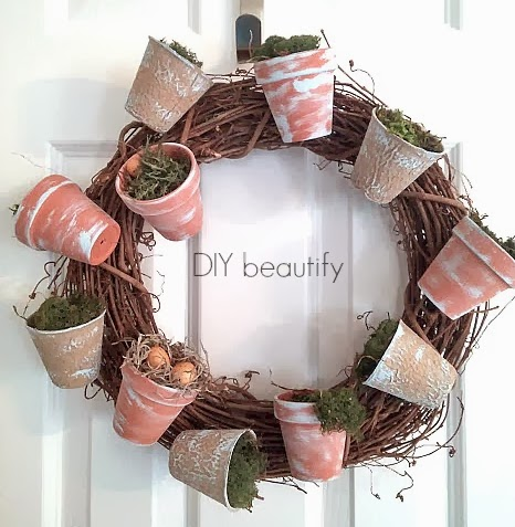 diy, pot, spring, wreath