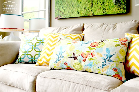 sofa, colorful, throw pillows
