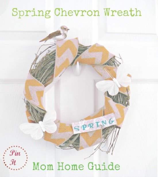 spring, chevron, burlap, bird, wreath, butterfly
