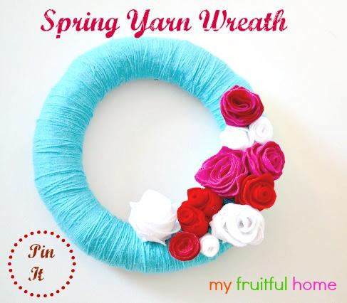 spring yarn wreath, craft