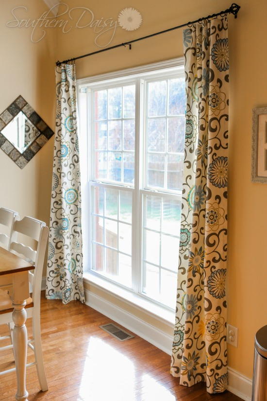 DIY, waverly pom pom, spa, curtains
