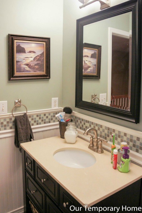 board and batten, bathroom, remodel, tile
