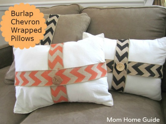 burlap wrapped fall pillows