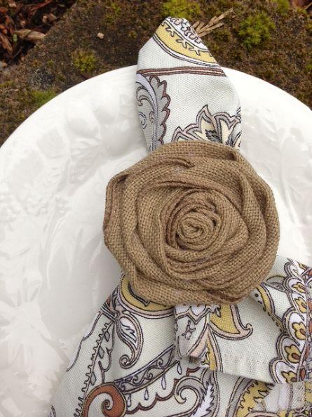 burlap, craft, napkin ring