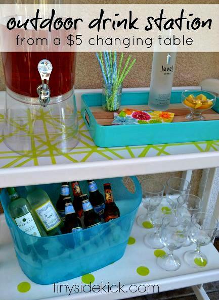 changing table, DIY, beverage, cart, station