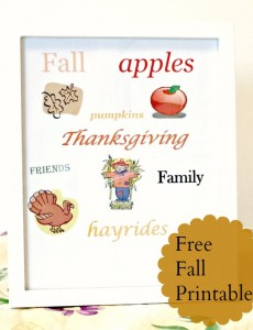 free fall printable, thanksgiving