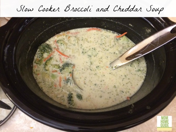 slow cooker broccoli and cheddar cheese soup