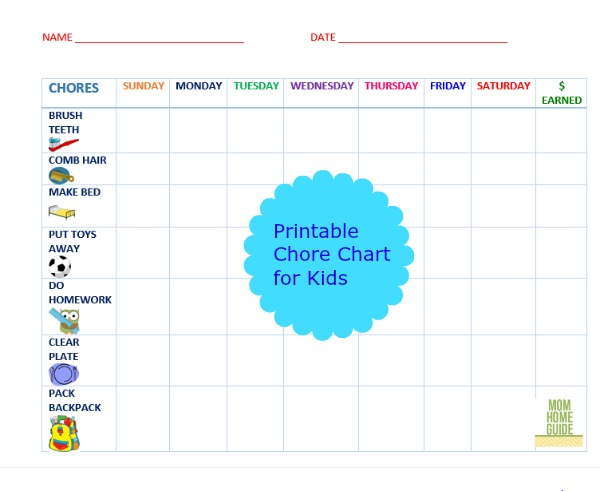 graphic relating to Printable Chore Chart for Kids referred to as Cost-free Printable Chore Charts