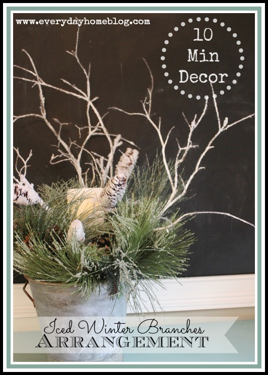 winter branches arrangement and centerpiece for table