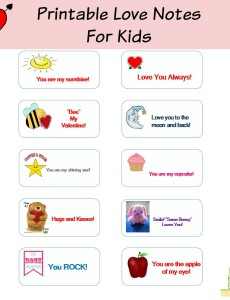 printable valentine's day love notes for kids