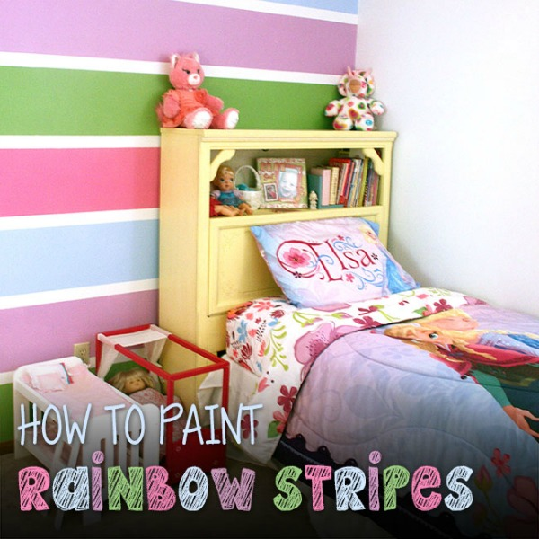 rainbow striped wall by Curly Crafty Mom
