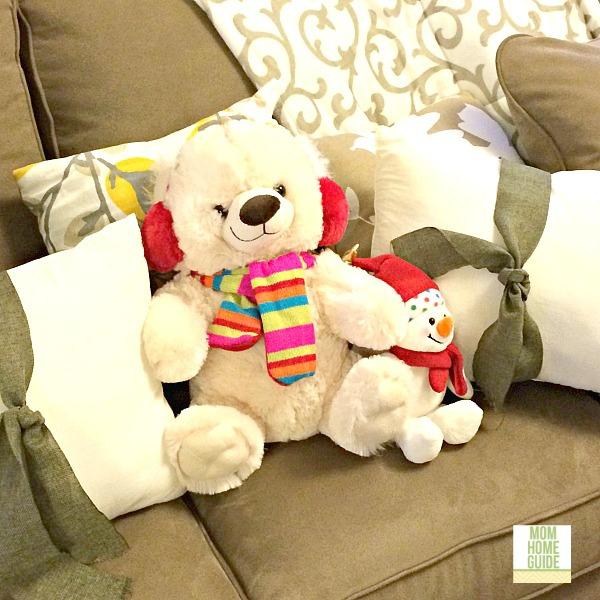 winter teddy bear on sofa