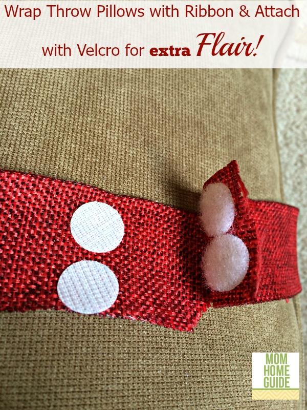 wrap pillows with ribbon