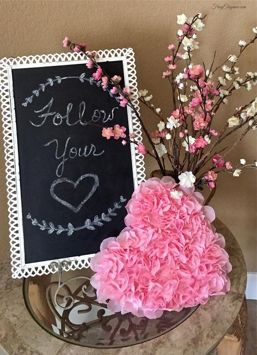 rose petal heart wreath craft