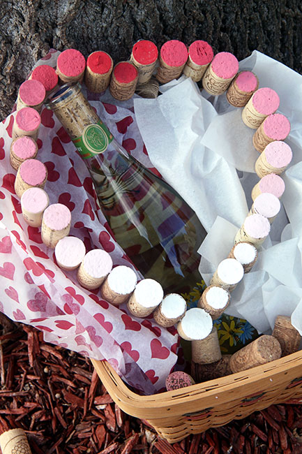 wine cork ombre heart wreath